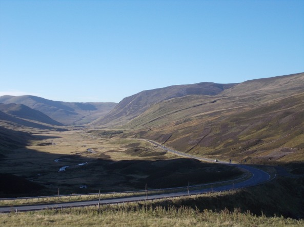 The road through the Cairngorms in the Scottish Highlands