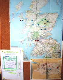 Map of Scotland, plan of BTL Enterprises HQ, and map of Glasgow.